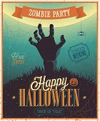 stock photo of happy halloween  - Halloween Zombie Party Poster - JPG