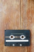 Audio Cassette On Wood