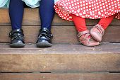 image of tights  - A close up of toddlers legs and feet - JPG