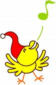 stock photo of christmas song  - Cute yellow bird with red Christmas hat while extending its wings - JPG