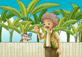 pic of ape-man  - Illustration of an old man near the fence with a monkey - JPG