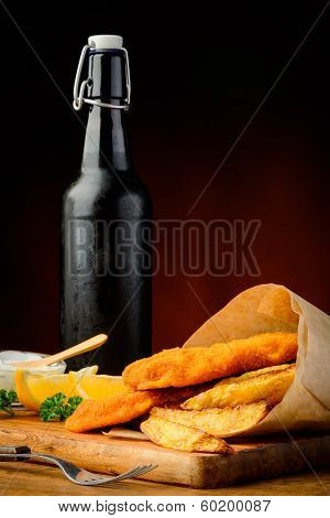 Fish, Chips And Beer Bottle