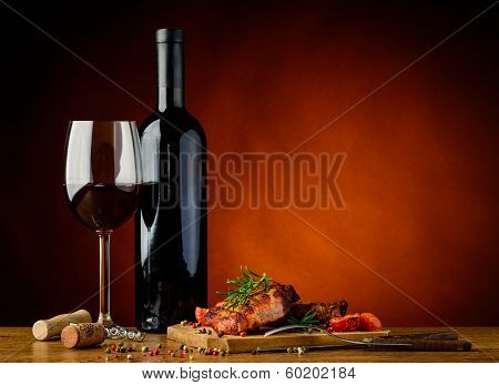 Dinner With Grilled Steak And Wine