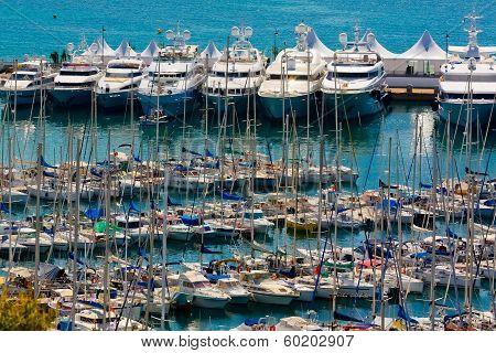 Luxury yachts on famous resort