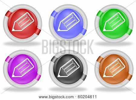 Pencil Write Web Icon Buttons