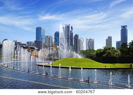 Park with fountains. Kuala Lumpur Malaysia.