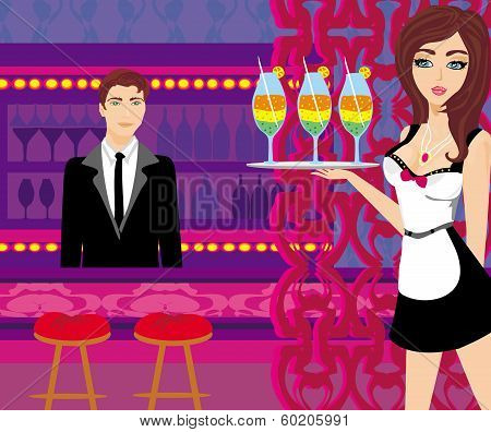 Waitress Serves Colorful Drinks