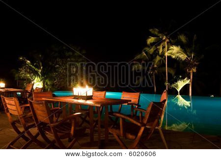 candle light dinner by the pool