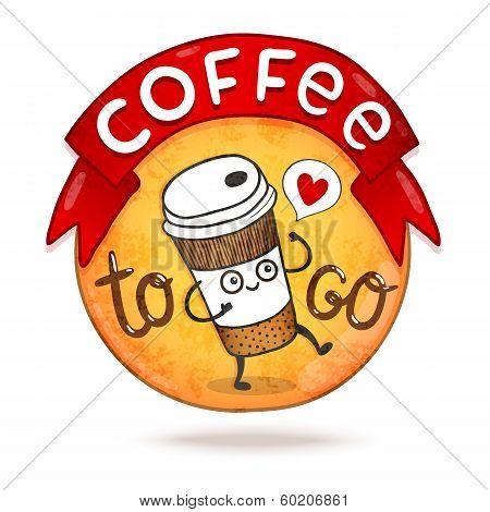Cute cartoon coffee badge. Vector illustration