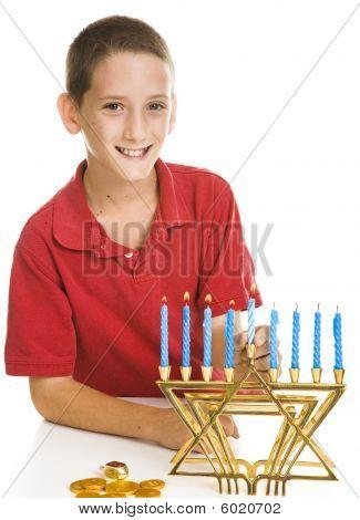 Boy Celebrating Hanukkah