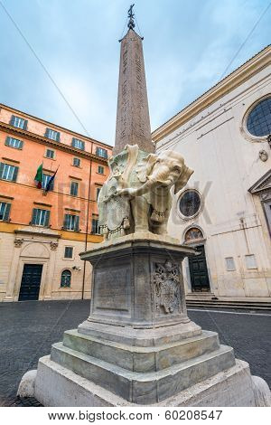 Egyptian obelisk caried by an elephant in Rome