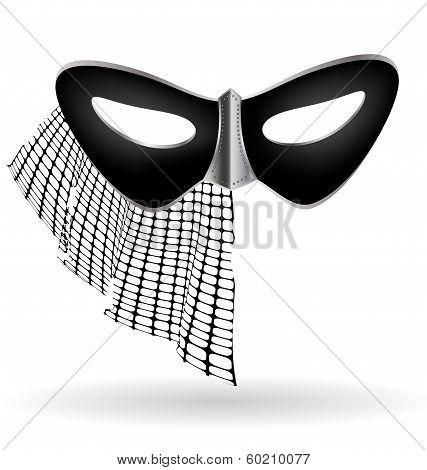 dark carnival mask with veil