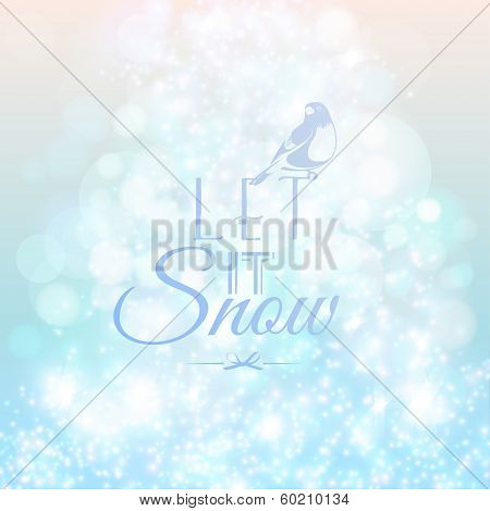 Abstract blurred lights and snow background