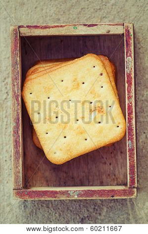 Square Crackers In Vintage Box.