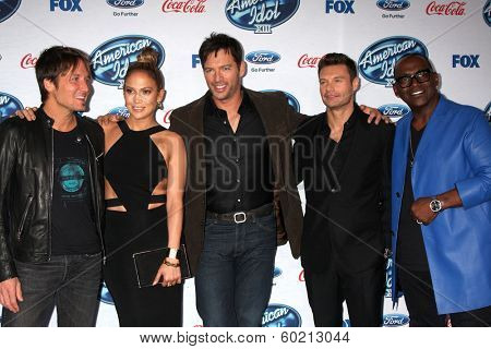 LOS ANGELES - FEB 20:  Keith Urban, Jennifer Lopez, Harry Connick Jr, Ryan Seacrest, Randy Jackson at the American Idol 13 Finalists Party at Fig & Olive on February 20, 2014 in West Hollywood, CA