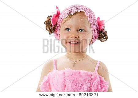 Little Cute Child Girl With With Pink Bows Isolated On White Background.  Use It For Baby, Parenting
