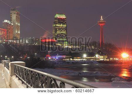 Niagara's Winter Night Skyline