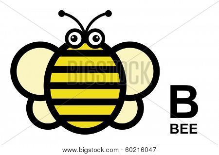 illustration of isolated animal alphabet. A is for bee. Vector illustration.