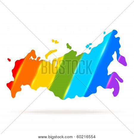 map silhouette. Russia on rainbow background