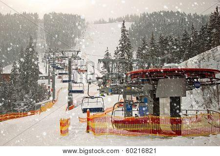 Mountain Ski Chair Lift Station
