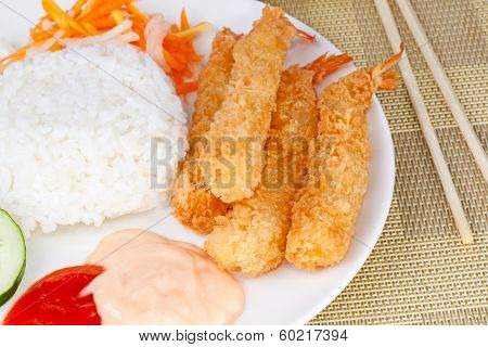 Fried Shrimp Ebi Tempura and rice in white plate