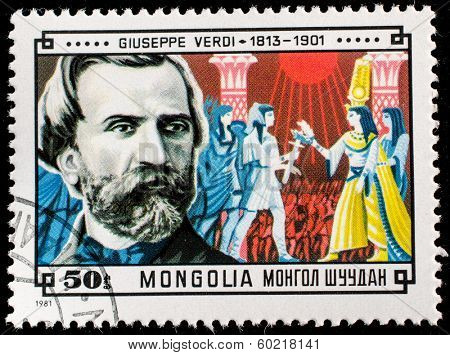 MONGOLIA - CIRCA 1981: A stamp printed in Mongolia shows Giuseppe Verdi (1813-1901) and Scene from his Aida, circa 1981