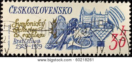 CZECHOSLOVAKIA - CIRCA 1979: A stamp printed in Czechoslovakia showing Czechoslovakia symphonic orchestra, circa 197