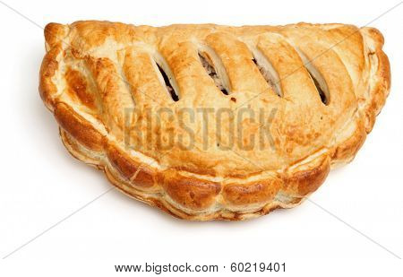 Cornish pastie on white background