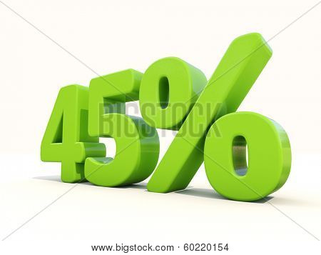 Forty five off. Discount 45%. 3D illustration.