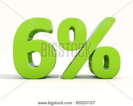 Six percent off. Discount 6%. 3D illustration.
