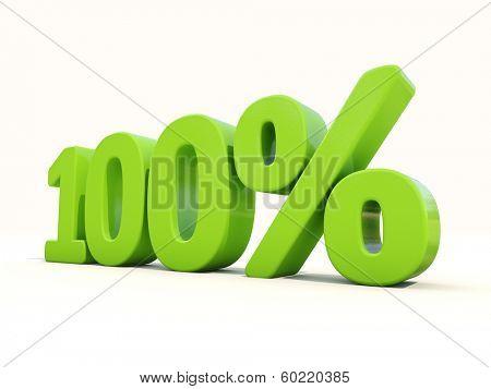One hundred percent off. Discount 100%. 3D illustration.