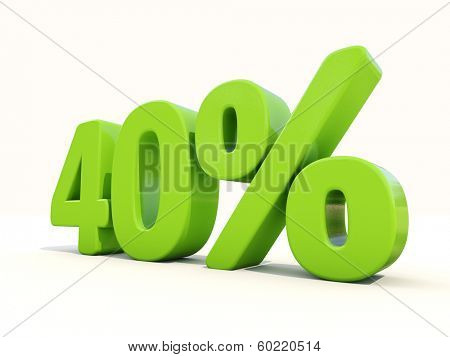 Forty percent off. Discount 40%. 3D illustration.