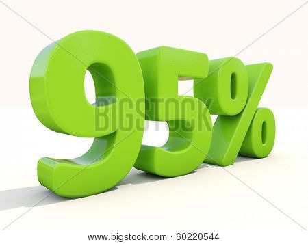 Ninety five percent off. Discount 95%. 3D illustration.