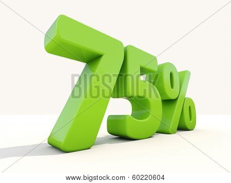Seventy five percent off. Discount 75%. 3D illustration.