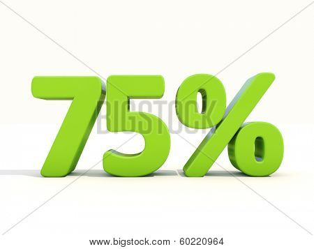 Seventy five percent off. Discount 75%. 3D illustration.