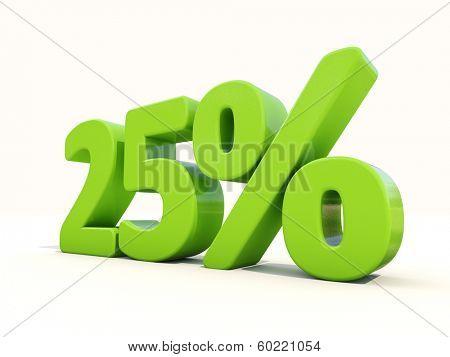Twenty five percent off. Discount 25%. 3D illustration.