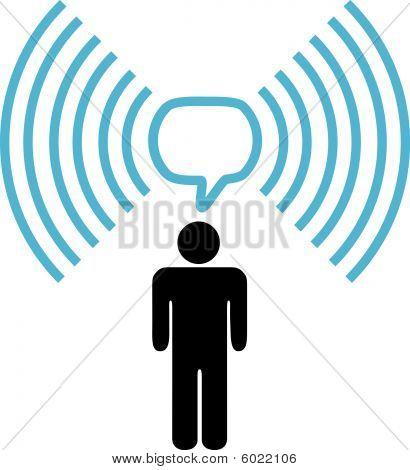 Wi-Fi Symbol Mann Gespräche über drahtloses Netzwerk