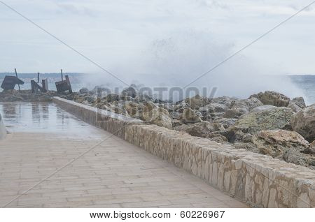 Wave Splash Panorama Cala Estancia Pier