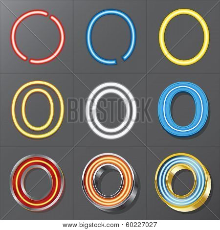 Set Of Neon Style Alphabet O, Eps 10 Vector, Editable For Any Background, No Clipping Masks