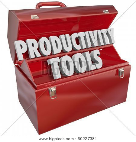 Productivity Tools Words Toolbox Learn Efficiency Skills