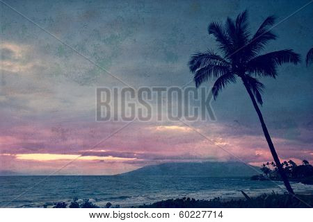 Vintage take on a tropical sunset on Maui in Hawaii