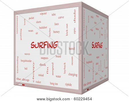 Surfing Word Cloud Concept On A 3D Cube Whiteboard