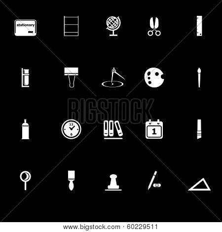 General Stationary Icons With Reflect On Black Background