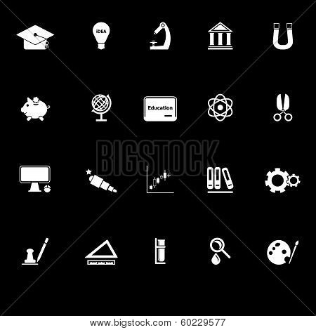 Education Icons With Reflect On Black Background