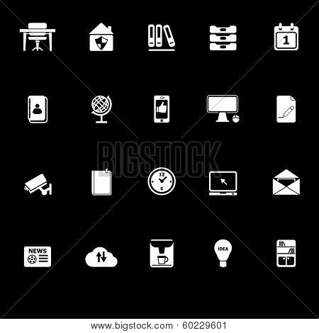 Home Office Icons With Reflect On Black Background