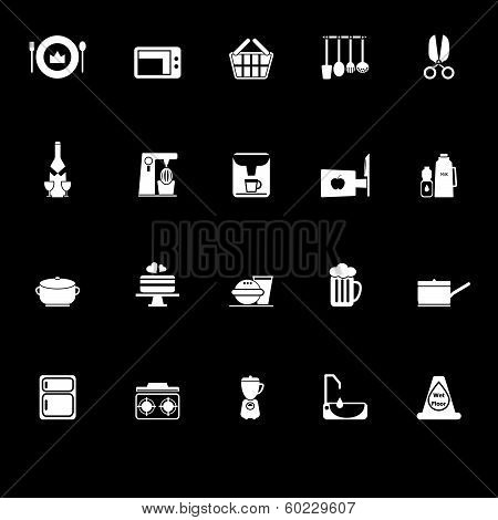 Home Kitchen Icons With Reflect On Black Background