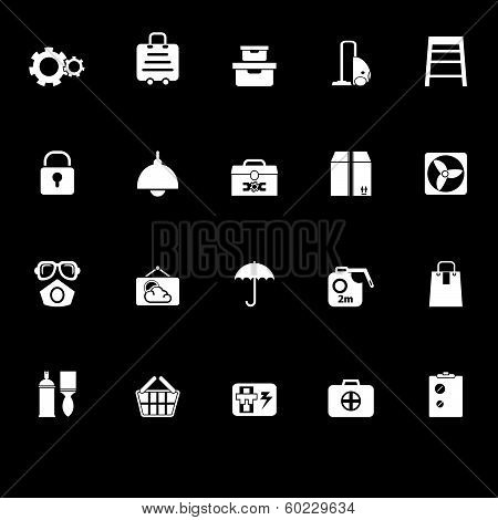Home Storage Icons With Reflect On Black Background