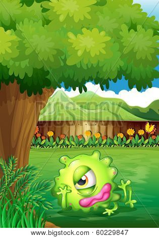 Illustration of a yard with a monster resting under the tree