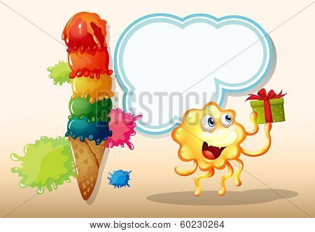 Illustration of a happy monster holding a gift near the giant icecream