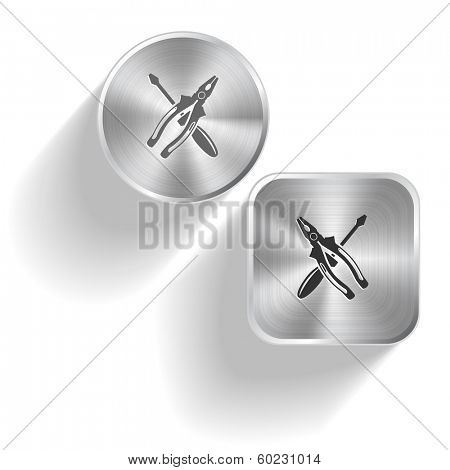 Screwdriver and combination pliers. Vector set steel buttons